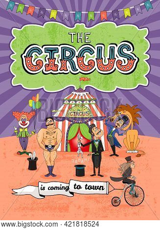 Vector Circus Poster Design With Various Performers In Front Of The Big Top And A Cute Monkey Riding