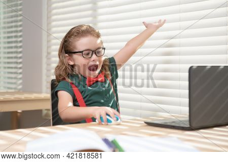 Caucasian School Boy Have Video Call Distant Class With Teacher Using Laptop, Happy Small Child Wave