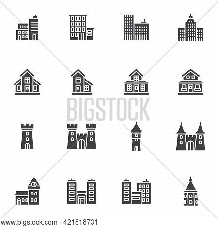 Types Of Buildings Vector Icons Set, Modern Solid Symbol Collection, Filled Style Pictogram Pack. Si