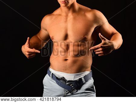 Bare Torso. Naked Man. Nude Male Abs. Sexy Muscular Guy. Topless Muscular Fitnes Body.