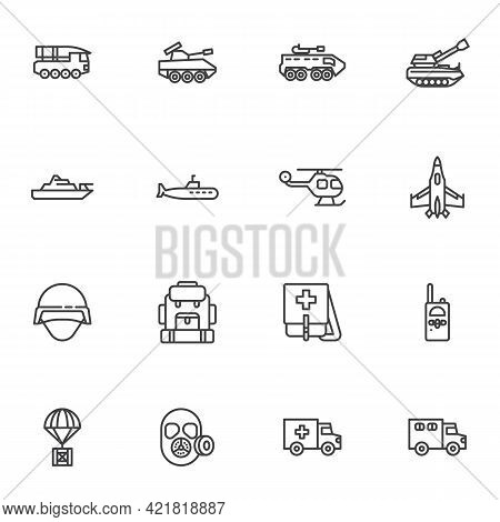 Military Vehicles Line Icons Set, Outline Vector Symbol Collection, Linear Style Pictogram Pack. Sig