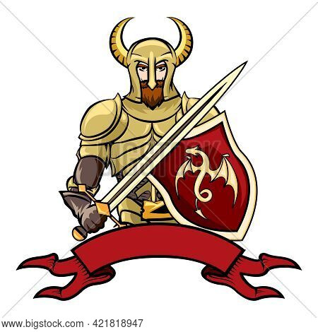 Vector Cartoon Knight With A Horned Helmet Shield With A Dragon  Sword And A Blank Vintage Ribbon Ba
