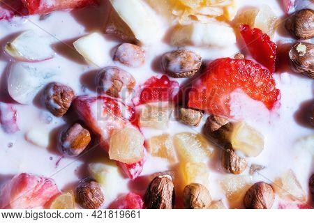 Fruit Berry Salad With Yogurt For Healthy Breakfast. Fresh Fruits And Yogurt. Closeup.