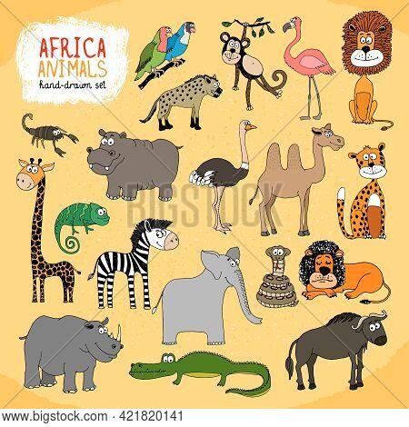 Animals Of Africa Hand-drawn Illustration With A Giraffe  Elephant  Hippo  Rhino  Crocodile  Lion  M
