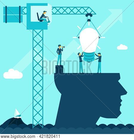 Vector Business Idea Background. Illustration Businessmen Establish Lightbulb Of Using A Crane Head