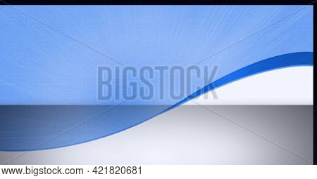Composition of white and blue curve with motherboard and light blue background across wall and floor. global communication technology digital interface concept, digitally generated image.