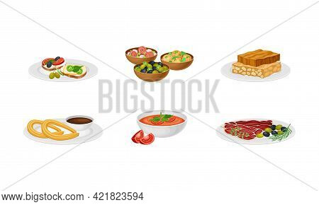Spanish Cuisine With Gazpacho Soup And Turron From Honey And Nuts Served On Plates Vector Set