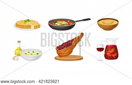 Spanish Cuisine With Dry-cured Bacon And Pie With Savory Stuffing Served On Plate Vector Set