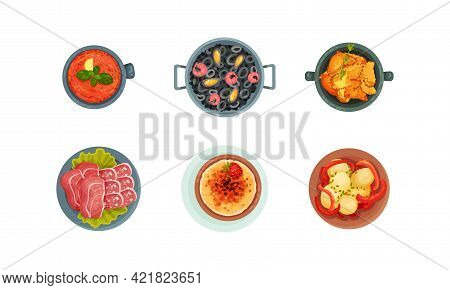 Spanish Cuisine With Tasty Meal Served On Plate Above View Vector Set