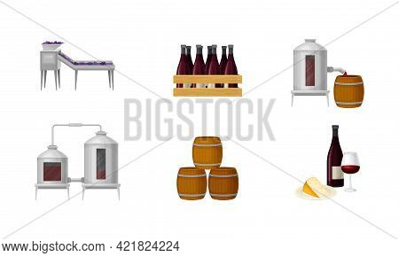 Grape Wine Production With Alcoholic Fermentation And Pouring In Wooden Barrel Process Vector Set