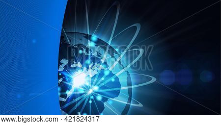 Composition of network of connections over glowing globe and blue edge. global business, technology, connections and networking concept digitally generated image.
