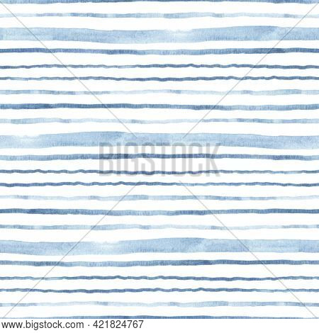 Horizontal blue stripes, watercolor abstract seamless pattern isolated on white background, template for textile, cover, wallpapers or creative sea texture.