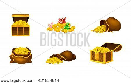 Wooden Chest And Sack With Glowing Gold Coins Vector Set