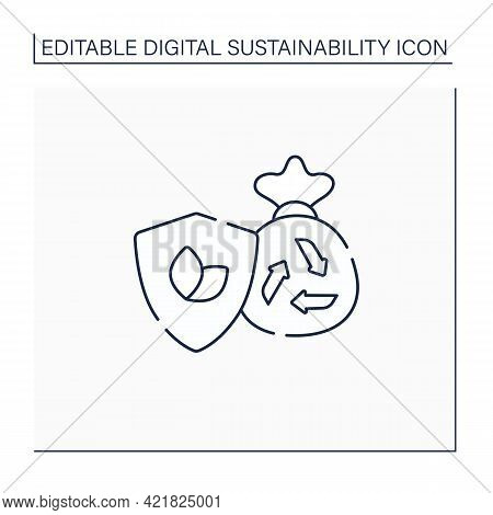 Eco Friendly Disposal Line Icon. Waste Disposal. Recycle. Utilization. Environmentally Friendly. Nat