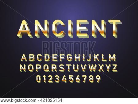Golden Text Effect. Set Of Alphabet And Number With Luxury Gold Look