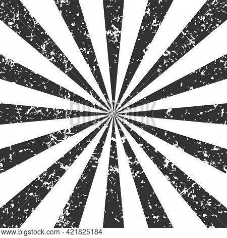 Sunburst Stripe Vector Illustration. Grunge Texture. Beam Or Ray Icon Pattern Background. Abstract S