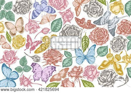 Floral Design With Pastel Menelaus Blue Morpho, Giant Swordtail, Blue Morpho, Lemon Butterfly, Red L