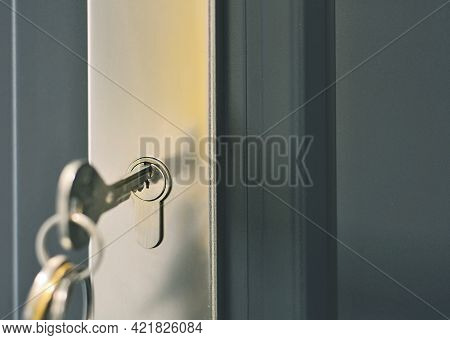 Closeup Of A Key With A Ring Inserted In A Door Lock Of The Grey Door. Unlocking The Security Lock.