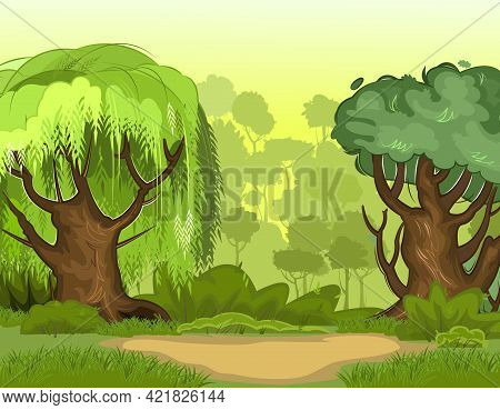 Summer Forest Landscape. Light Foggy Thickets. Dense Foliage, Shrubs And A Clearing At The Edge. Vie