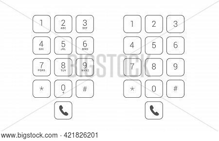 Flat Design Illustration Set Of Dial Keyboard Touch Screen Mobile Phone With Letters And Numbers. Tr