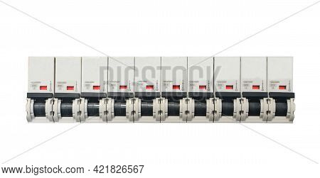 Line Of Circuit Breakers Isolated On White Background.