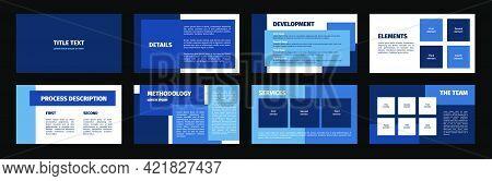 Presentation Template. Blue Rectangles Flat Design, White Background. 8 Slides. Title, Detail, Devel