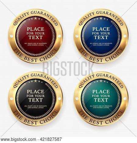 Set Of Four Circle Golden Badge Frames With Diamonds, Shadows And Copy Space. Vector Illustration.