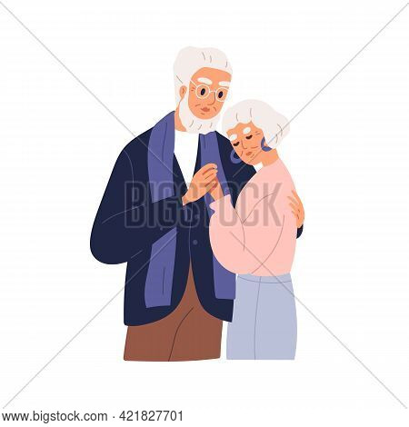Senior Couple Of Man And Woman Hugging. Old Gray-haired Husband And Wife Embracing And Supporting Ea