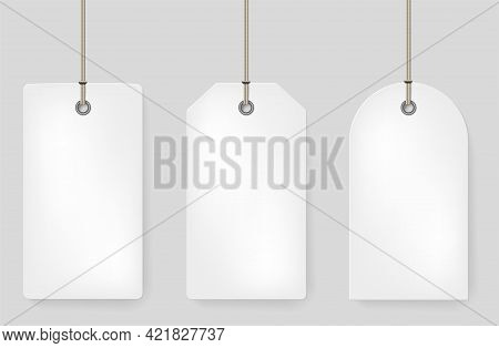 Set Of Three Blank Paper Price Tags With Rope And Place For Your Text - Vector Illustration