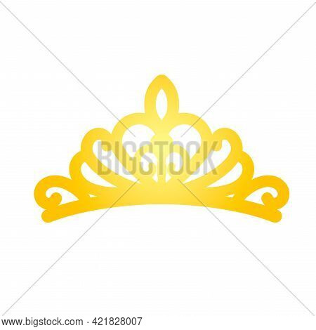 A Simple Tiara In A Flat Style. The Silhouette Of The Crown. Vector Illustration