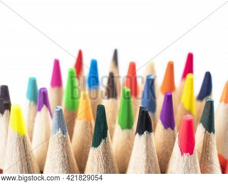 Macro Shot Colored Pencils Pattern Isolated On White Background. Set Of Multicolored Pencils Backgro