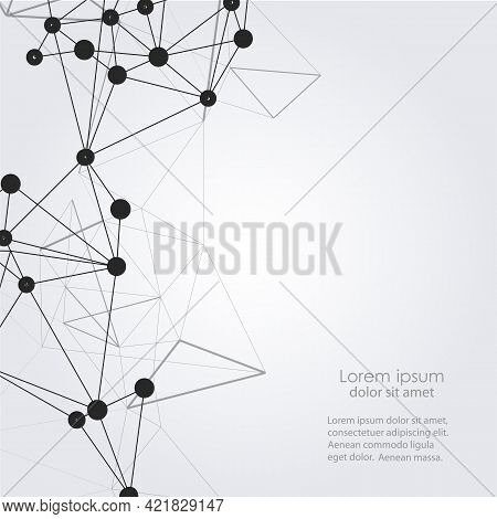 Black Molecules In Modern Style On Light Background. Design Material. Biotechnology Concept