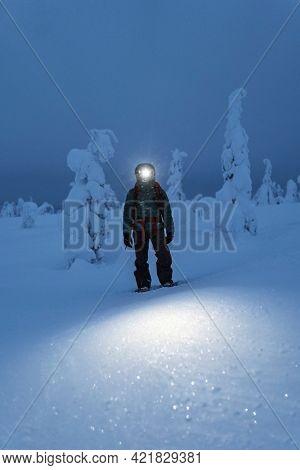 Trekker with a headlamp walking in a snowy Riisitunturi National Park, Finland