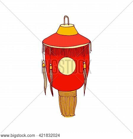 Chinese Paper Lantern With Fringe And Sun Symbol. Hanging Street Lamp With Loop And Candle Inside. A