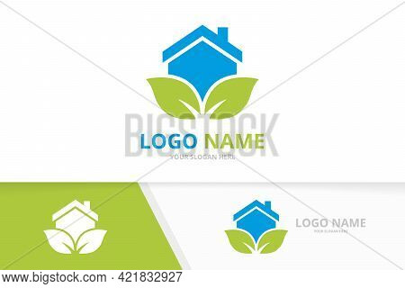 Organic Real Estate Logo Combination. House And Leaves Logotype Design Template.
