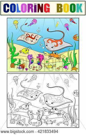 Set Of Coloring Book And Color Picture. Underwater World. Tutorial, Example Of Colors.