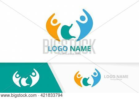 Vector Stomach And Team Logo Combination. Gastrointestinal Tract And Family Logotype Design Template