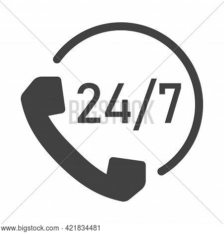 Monochrome 24 7 Support Icon Vector Illustration. Helpline For Customers Business Assistance