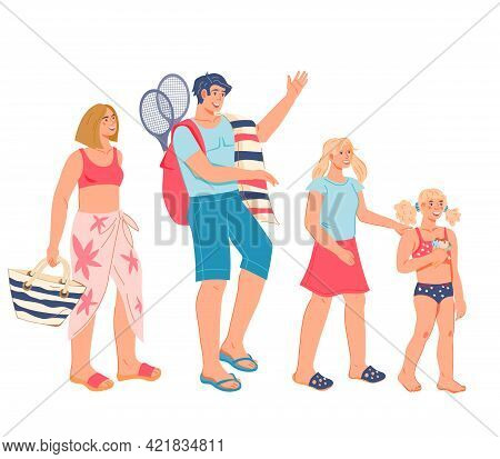 Happy Family - Parents And Daughters On The Sea Beach, Flat Vector Illustration Isolated On White Ba