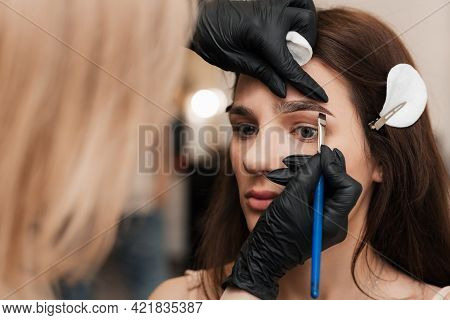 The Beautician-brovist Gives Shape By Applying Henna With A Brush, Coloring The Eyebrows In A Beauty