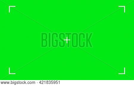 Vector Illustration Of Green Screen Chroma Key Background. Blank Green Background With Vfx Motion Tr
