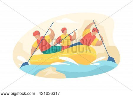 People Engaged In Extreme Rafting. Adrenaline Descent Along Mountain Rivers With Team Building. Char