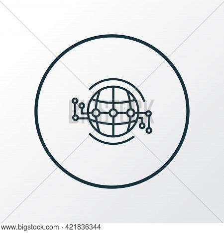 Global Infrastructure Icon Line Symbol. Premium Quality Isolated Worldwide Element In Trendy Style.
