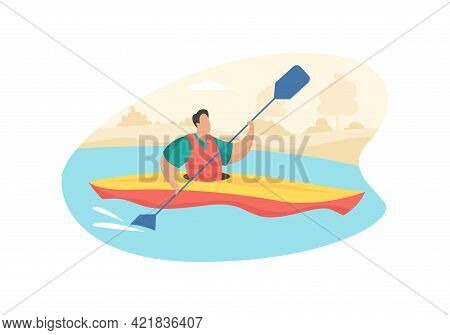 Tourist Paddle In Kayak. Active Recreation And Sports Rivers And Lakes. Man Life Jacket Paddles One