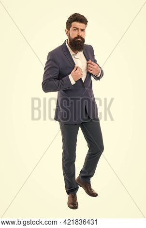 Office Worker. Fashion Model With Long Beard And Mustache. Business People Fashion Style. Facial Hai