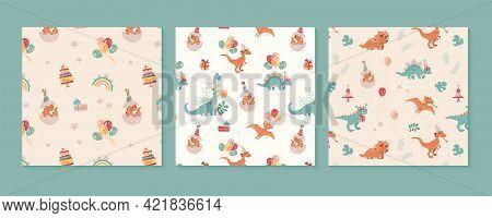 Festive Set Of Patterns With Dinosaurs. Velocepator, Brontosaurus, Stegosaurus, Pteranodon, And A Ba
