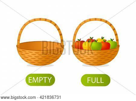 Empty And Full Basket Of Apples. Teaching Children Opposites In Mathematics. Vector Illustration Iso