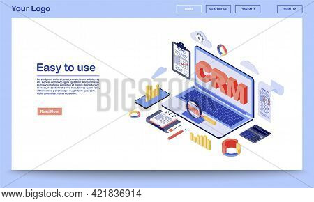 Crm System Isometric Landing Page Template. Customer Retention Software And Digital Client Database