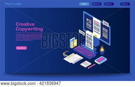Creative Copywriting Landing Page Vector Template. Content Writing Website Interface Idea With Flat