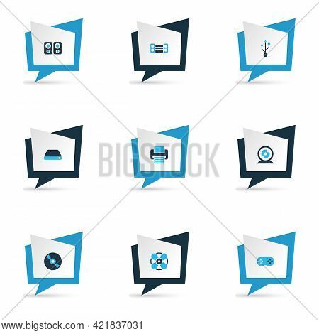 Gadget Icons Colored Set With Cd, Printer, Web Camera And Other Webcam Elements. Isolated Vector Ill